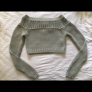 Sliver cropped Knit sweater
